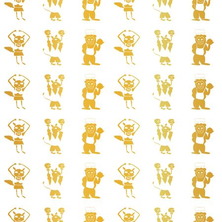 Vector gold foil vertical anthropomorphic cartoon characters seamless pattern background Illustration