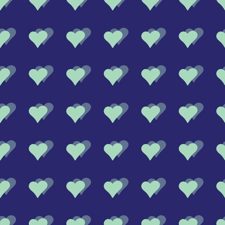 Vector classic blue hearts seamless pattern background.