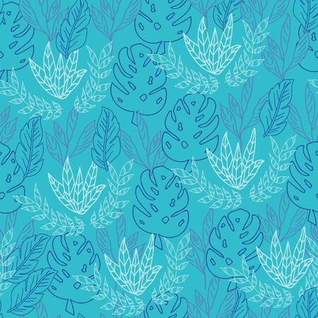 Vector blue tropical overall leaves seamless pattern background Ilustrace