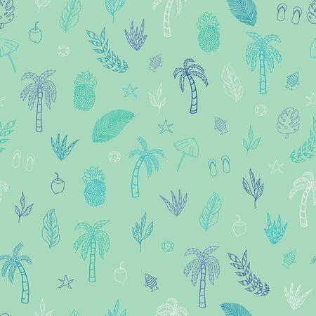 Vector beautiful cyan tropical elements seamless pattern