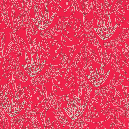 Vector red tropical overall leaves texture seamless pattern background