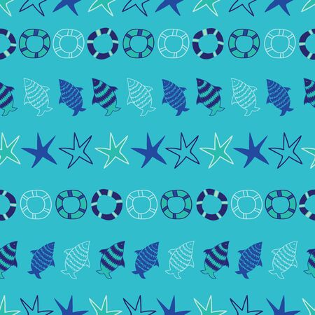 Vector sea blue tropical aquatic life seamless pattern background 向量圖像