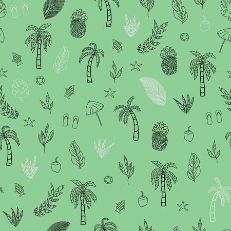 Vector pastel green with black and white tropical scene seamless pattern background Иллюстрация