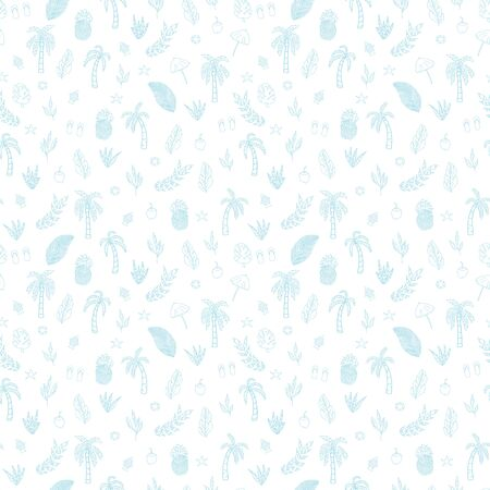 Vector pastel blue textured tropical scene seamless pattern background