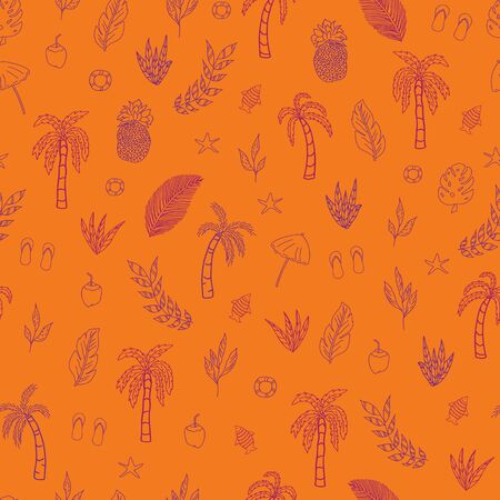 Vector orange tropical scene seamless pattern background