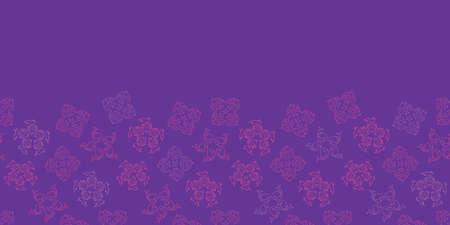 Vector violet aqua horizontal border seamless pattern background