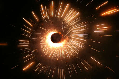 Ground firework called zameen chakra used during birthday of sikh guru nanak dev ji,diwali and on other ocassions in india Stock Photo - 3750704