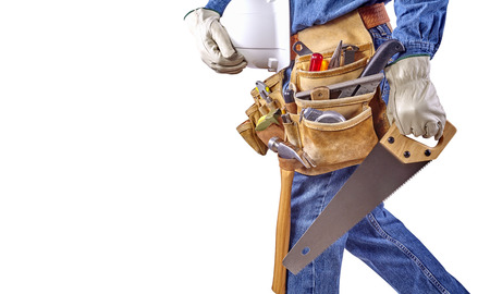 Contractor Man With Carpenter Toolbelt and Saw Isolated on White Background photo
