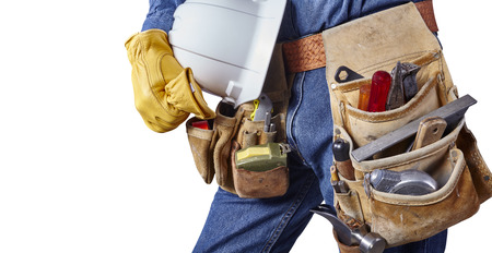 Contractor Man With Carpenter Toolbelt and Hard Hat Isolated on White Background photo