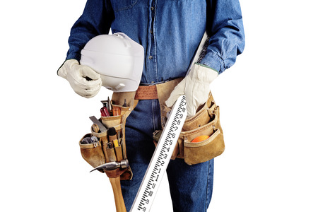 Contractor Man With Carpenter Toolbelt and Survey Rod Isolated on White Background photo