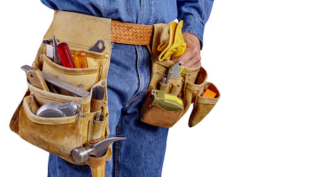 Contractor Man With Carpenter Toolbelt and Gloves Isolated on White Background photo
