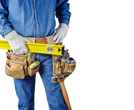 Contractor Man With Carpenter Toolbelt and Level Isolated on White Background photo