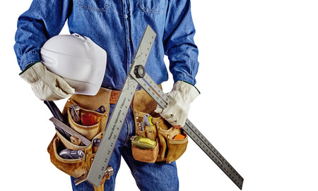 t square: Contractor Man With Carpenter Toolbelt and T Square Isolated on White Background