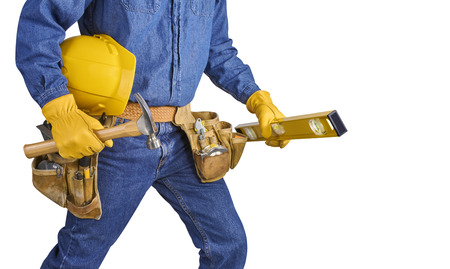 Contractor Man With Carpenter Toolbelt Walking Isolated on White Background photo