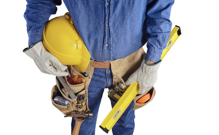 plumb: Contractor Man With Carpenter Toolbelt and Plumb Level Isolated on White Background Stock Photo