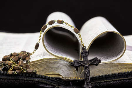 isaiah: Bible Folded to Heart with Vintage Rosary