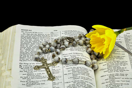 isaiah: Bible on Isaiah with Daffodil and Jobs Tears Rosary