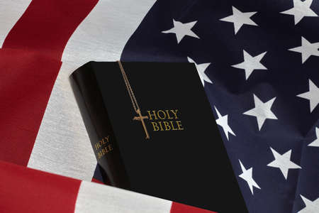 public domain: American USA Flag and studio prop book cover. Public domain items.