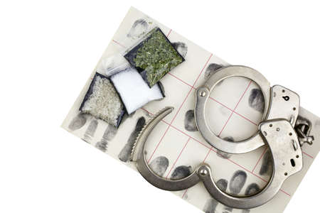 prosecute: Drug bust arrest with handcuffs, fingerprint ID, and fake sample evidence.