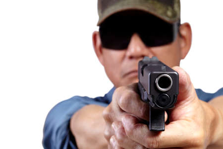 front facing: Man Aiming and Shooting Pistol Weapon Front Facing on White