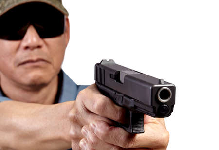 gun man: Man Aiming Handgun on White Background Stock Photo