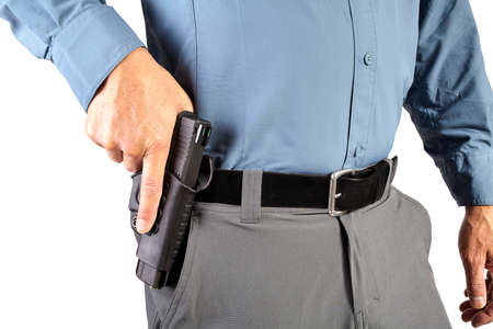 professional man: Law Enforcement Professional Man with Firearm Weapon Stock Photo