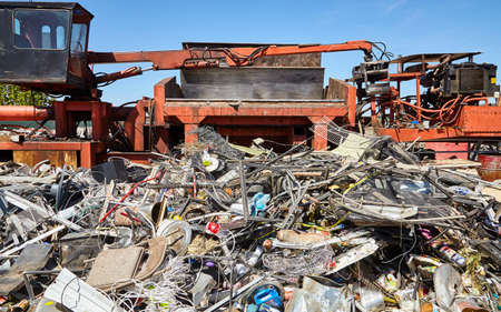 compacting: Metal waste compacting machine for recycling trash Stock Photo