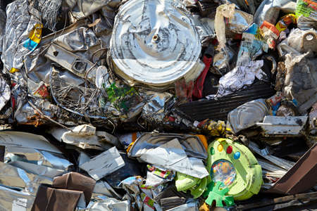 compacted: Scrap metal trash compacted waste for recycling