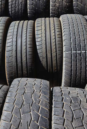 waste management: tires used worn for recycling waste management industry disposal Stock Photo