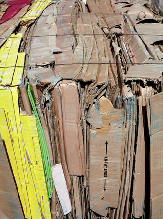 waste management: Cardboard compacted for recycling industry waste management