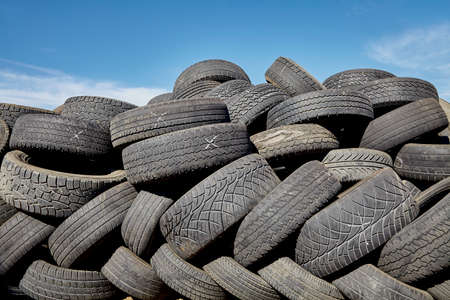disposal: tires used worn for recycling waste management industry disposal Stock Photo