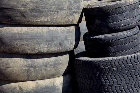 sidewall: tires used worn for recycling waste management industry disposal Stock Photo