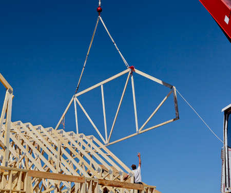 rafter: construction home building industry carpentry and sitework details in progress Stock Photo