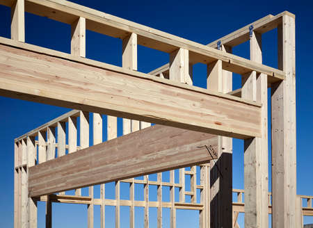 roof framing: construction home building industry carpentry and sitework details in progress Stock Photo