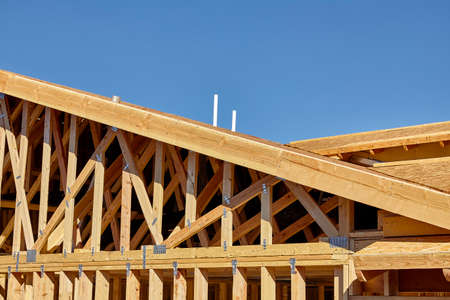 joist: construction home building industry carpentry and sitework details in progress Stock Photo