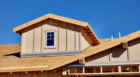 contracting: construction home building industry carpentry and sitework details in progress Stock Photo