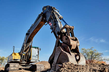 trenching: Industrial Heavy Equipment machine excavator trenching road street work