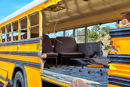 restraints: school bus traffic accident damage ems evacuation of children