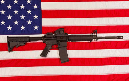 m16: AR15 M4A1 M16 Style Weapon Automatic Rifle with USA Flag concept freedom justice patriotism