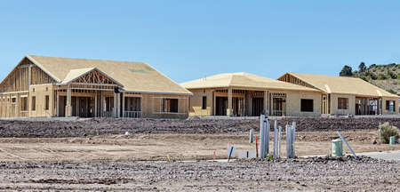 economic recovery: New housing project in progress trades construction industry concept of economic health and recovery