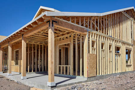 economic recovery: New housing wood frame construction industry concept photograph of economic recovery Stock Photo