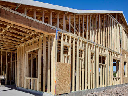 economic recovery: New housing wood frame carpentry construction industry concept of economic recovery