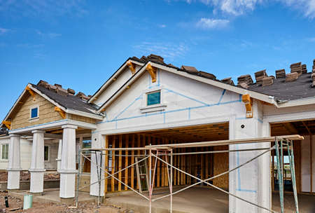 stucco house: Home building industry house prep for stucco and tile roofing