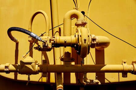contracting: Water tanker hydraulic pump system closeup