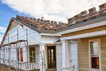 stucco house: Home building industry house prep for stucco and roofing