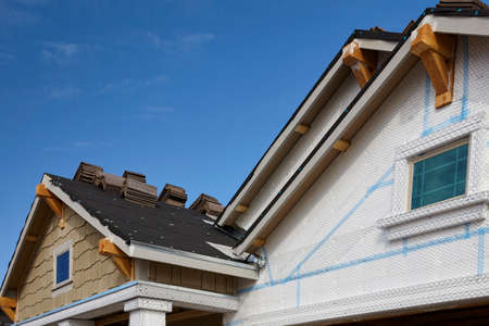 PrEP: Home building industry gable roof slope transition and stucco roof prep
