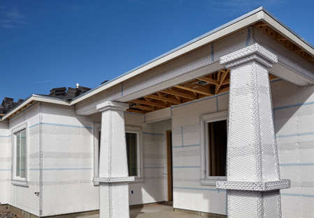 stucco house: Home building industry house wall and entry ready for stucco