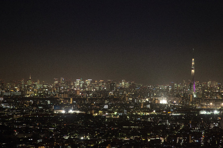 Night view of High-rise building and Tokyo Skytree