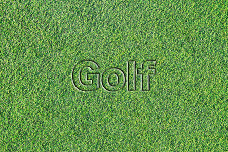 Message on Artificial turf (Golf) 写真素材 - 99914096