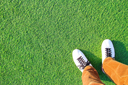 Artificial turf and Leg 写真素材